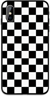 ZIXIXI A Cuadros Caja del teléfono for iPhone 11 Pro X XS MAX XR 7 8 6 6s Plus 5S SE Negro Blanco Rejilla de Tablero de ajedrez Simple Cubierta Retro (Color : 9, Material : For iPhone XR)