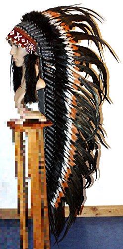 Hejoka-Shop UNIKAT Indianer Kopfschmuck XXL Federhaube 130 cm. lang SCHWARZ BRAUN Weisse Federn Federschmuck handgefertigt Fasching Fotoshooting EDEL