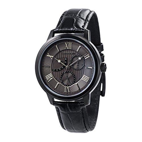 Thomas Earnshaw Cornwell Sweep Second Retrograde ES-8060-06 herenhorloge met kwartsuurwerk, grijze wijzerplaat met klassieke analoge weergave, zwarte lederen armband