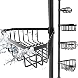 EDELHAND© Teleskop Duschregal Schwarz für Höhe von 105 bis 270 cm - Teleskopregal Bad für Dusche und Badewanne mit 4 Körben - Rutschfestes Teleskop Eckregal Dusche für Duschecke ohne Bohren