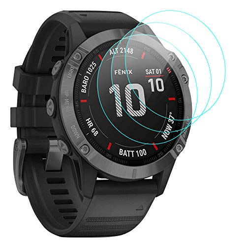 KIMILAR 3-Pack Screen Protector compatible with Garmin Fenix 6X / 6X Pro 51mm, [NOT for Fenix 6/6 Pro / 6S / 6S Pro] Tempered Glass Screen Protector Cover for Fenix 6X / 6X Pro Smartwatch