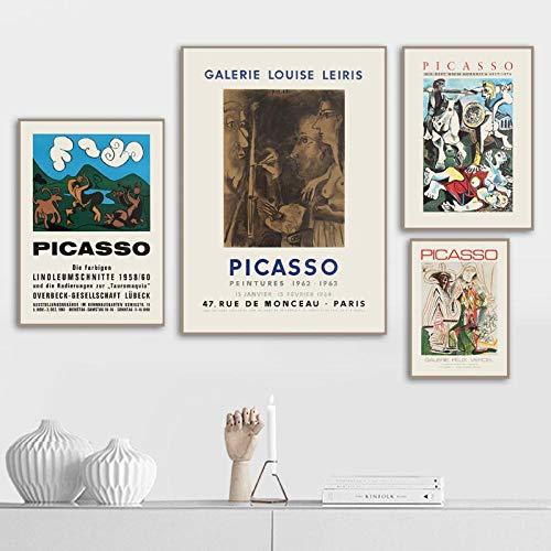Vintage Leinwanddruck Gemälde Pablo Picasso Kunst Poster und Drucke Abstrakte Leinwand Wandkunst für Wohnzimmer Moderne Wohnwand Bilder Rahmenlos UJ-024-QUR