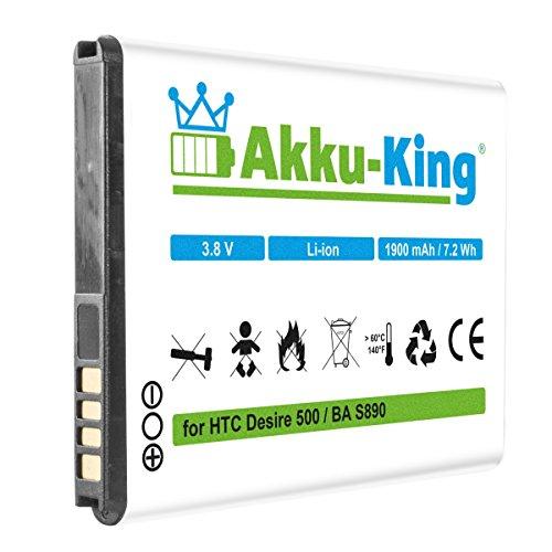 Akku-King Akku kompatibel mit HTC BA S890, BA-S890, BM60100 - Li-Ion 1900mAh - für Desire 500, One SC, ST, SU, SV
