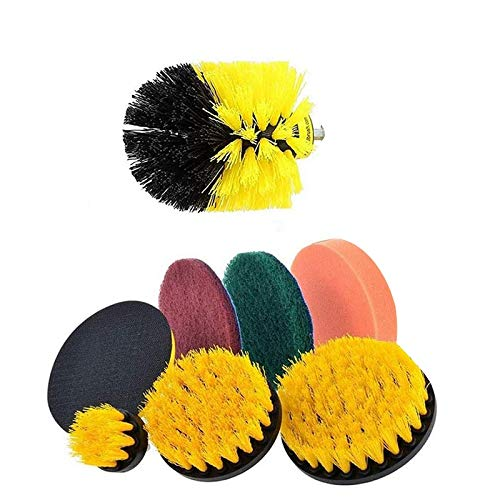 Ctzrzyt 8Pcs Drill Brush Scrub Brush Drill Attachment Kit Drill Powered Cleaning Brush Attachments for Cleaning Tile and Grout