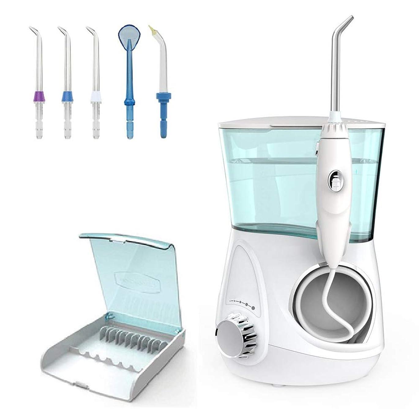 楕円形藤色生きている電気家庭は、歯の洗濯機の水はマッサージ機能付きフロスや歯のクリーニングのための6つのノズル
