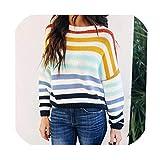 Suzanne Betty suéter de Punto a Rayas de Colores arcoíris para Oficina o Mujer, Suelto, Manga Larga, Jersey de Punto 01. M