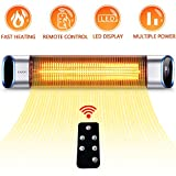 SURJUNY Infrared Patio Heater, Outdoor Wall-Mounted Electric Heater with LED Display and Remote Control, 24Hours Timer Auto Shut Off, Space Heater for Bedroom, Garage, Backyard,1500W