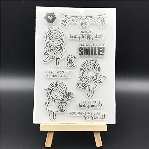 Girl Transparent Clear Silicone Stamps for DIY Scrapbooking/Card Making/Kids Christmas Fun Decoration Supplies A620