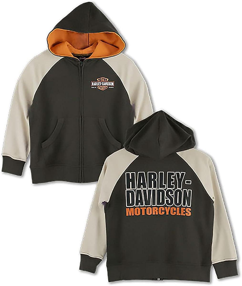 Harley-Davidson Boys Youth Trademark B&S Zip Brown Long Sleeve Hoodie