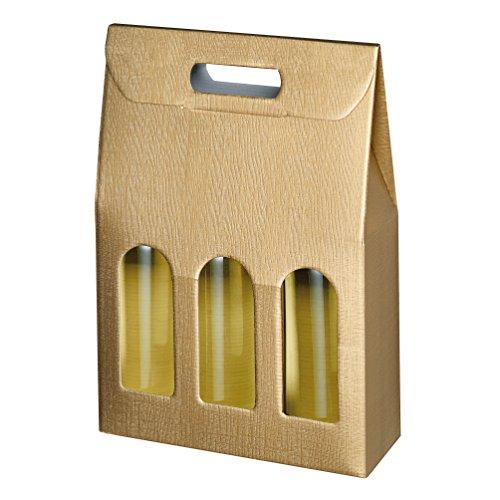 Susy Card 40000763 Tragekarton, Geschenkverpackungen Struktur gold, Wellpappe, für 3 Flaschen