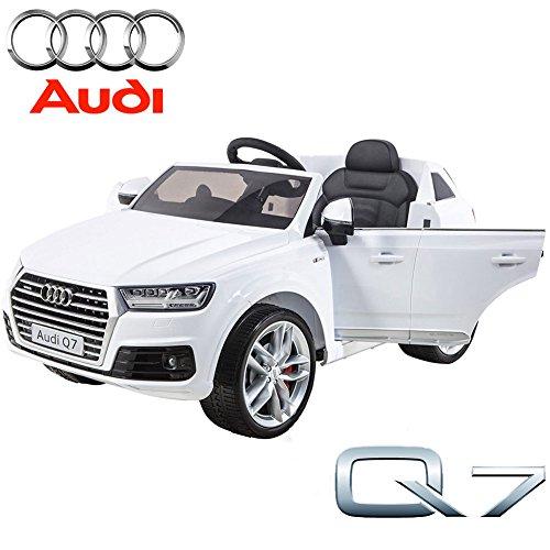 BAKAJI Auto Elettrica per Bambini Licenza Ufficiale Audi Q7 SUV Bianca 12V con Radiocomando , Luci e Suoni MP3