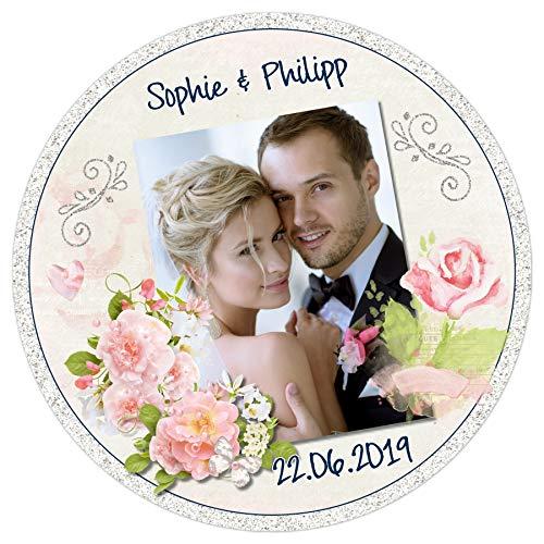 Tortenaufleger Tortenbild Hochzeit Rosen Blumen Glitzer sofort frei gestalten den Wunschtext und Fotoessbar Ø 20cm 526