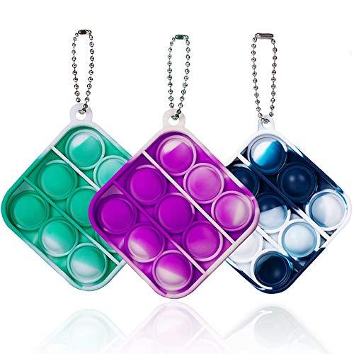 ZNNCO Mini Tie-dye Push Pop Fidget Keychain Toy,Fidgets Toys Bubble Wrap Pop Anxiety Stress Reliever Office Desk Toy for Kids Adults(Purple+Green Square)