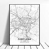 shuimanjinshan Elche Pamplona Vitoria-Gasteiz Madrid Albacete Santander Oviedo España Lienzo Arte Mapa Cartel 50X70Cm No Frame W-92