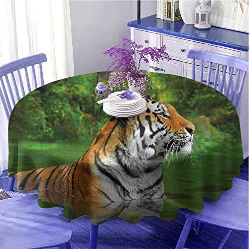Tiger Kitchen - Mantel redondo para mesa (129,5 cm), diseño de gato grande de Siberia Natación en el Lago en el Bosque, para parientes Diámetro 129,5 cm, color verde helecho, marrón claro