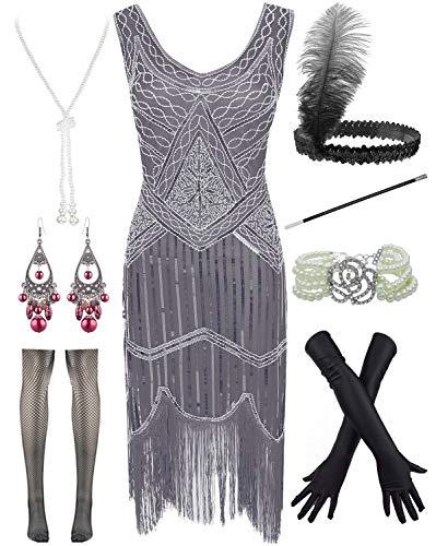 POKERGODZ Vestido de Cachemira con Flecos de Lentejuelas Gatsby para Mujer, Talla Grande de los años 20 con Juego de Accesorios de los años 20 - Gris - XX-Large