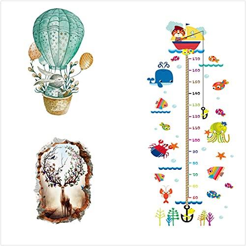 ahliwei 3 Juegos de Pegatinas de Pared, Pegatinas de Altura Pegatinas de Dibujos Animados para el Dormitorio de la habitación de los niños 3 Piezas
