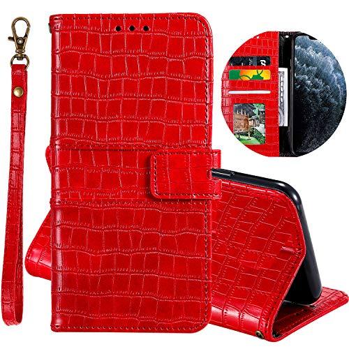Miagon Krokodil Flip Hülle für Xiaomi Redmi Note 9 Pro,Stilvoll PU Leder Wallet Tasche mit Standfunktion Magnetisch Brieftasche Bookstyle Schutzhülle,Rot
