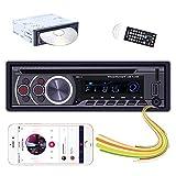 Hikity 1 DIN Radio de Coche Bluetooth DVD CD Sistema de Estéreo de Coche , Llamada de Manos Libres, Carga Rápida USB, Reproductor de Coche MP3 con AUX-in SD Puerto de Entrada USB + Mando a Distancia