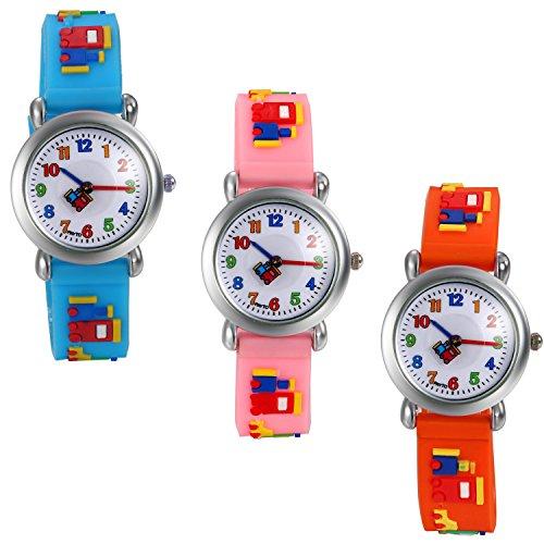 LANCARDO Reloj Analógico de Cuarzo Correa de Silicona Dibujos de Bloque de Construcción Pulsera con Dial de Números �rabes de Multicolor Impermeable de 1ATM para Niño Niña Chicos