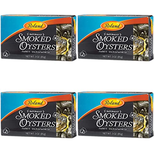 Roland Foods Premium Naturally Smoked Medium Oysters in Oil, Wild Caught, 3 Ounce, Pack of 1
