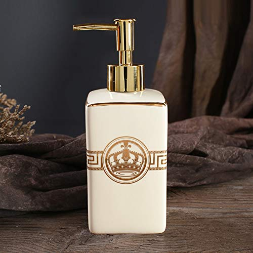 XIAOBAOZIYS Zeep Dispenser/Lotion Fles Hand Zeep Fles Eenvoudige Luxe Stijl Kroon Patroon Beige Keramisch Voor Hotel Sink Douchegel Fles Lotion Fles