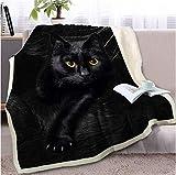 RKZM Manta de Tiro de Gato Negro en el sofá Manta de Sherpa de Animales 3D Cubrecamas de Mascotas Encantadoras Colcha de Piel Estampado Edredón Fino 150 * 200 cm