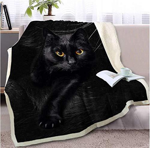 Preisvergleich Produktbild RKZM Schwarze Katze Decke auf Sofa 3D Tier Sherpa Decke schöne Haustier Tagesdecken Fell drucken dünne Decke 150 * 200 cm