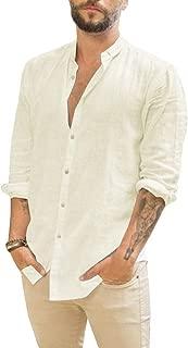 Bbalizko Mens Linen Button Up Shirts Long Sleeve Regular Fit Casual Beach Tops