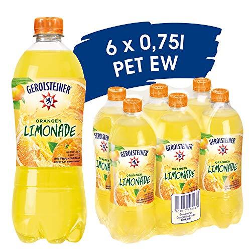 Gerolsteiner Orangen-Limonade / Angenehm prickelndes, natürliches Mineralwasser mit fruchtigem Orangengeschmack / 6 x 0.75l PET Einweg Flaschen, 6 Stück