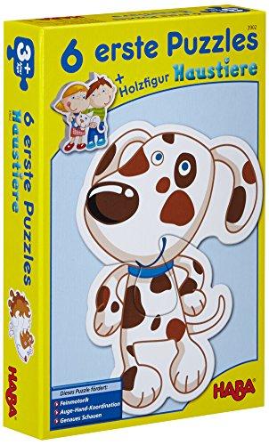 Haba 3902 - 6 eerste puzzels, huisdieren, puzzel met 6 schattige diermotieven voor kinderen vanaf 2 jaar, met houten figuur om vrij te spel
