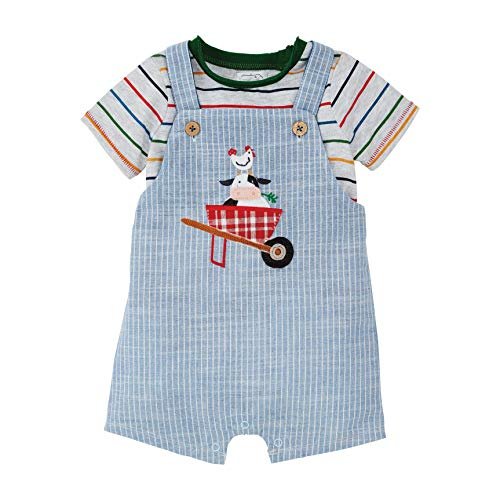 Mud Pie Baby Boys Cow Ticking Overall Set, Blue, 9-12 Months