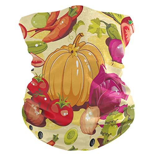 LIUBT Bandana Gesichtsmaske Staubschutz Outdoor Sport Kopftuch Sonne UV Motorrad Lustig Chili Kürbis Zwiebeln Tomate Gemüse Muster Gesicht Schal für Damen Herren