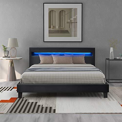 Belissy Letto a LED, letto imbottito, rete a doghe di legno, 140 x 200 cm, rivestimento in ecopelle e struttura in legno,con illuminazione a LED, ecopelle e rete a doghe,(senza materasso) (nero)