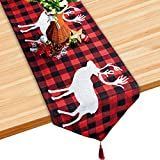 "S SUNINESS Christmas Embroidered Elk Table Runner - Holiday Elk Embroidered for Family Dinners or Gatherings, Indoor or Outdoor Parties, Everyday Use, Black, White & Red (70.8"")"