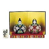 桃の節句を華やかに彩る雛人形。 九谷焼 3号玉雛人形 紺赤桜紋 N188-05 〈簡易梱包