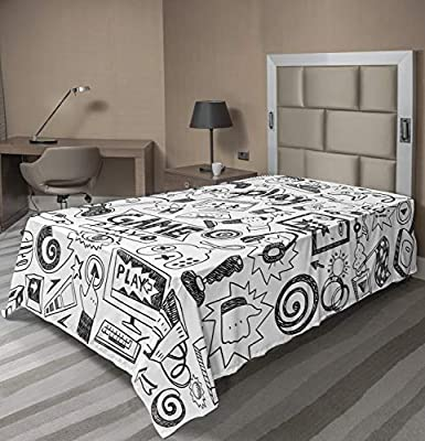 Ambesonne Video Games Flat Sheet, Monochrome Sketch Style Gaming Design Racing Monitor Device Gadget Teen 90's, Soft Comfortable Top Sheet Decorative Bedding 1 Piece, Twin Size, White and Black from Ambesonne