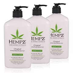 Bundle of Hempz Original Herbal Body Moisturizer 17 oz (3 Pack) 100% Pure Natural Hemp Seed Oil Dramatic skin hydration and nourishment Vitamin A,C and E help protect skin from environmentally oxidants