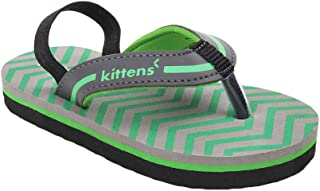 Hopscotch Kittens Boys Synthetic Flip Flops with Backstrap in Green Color