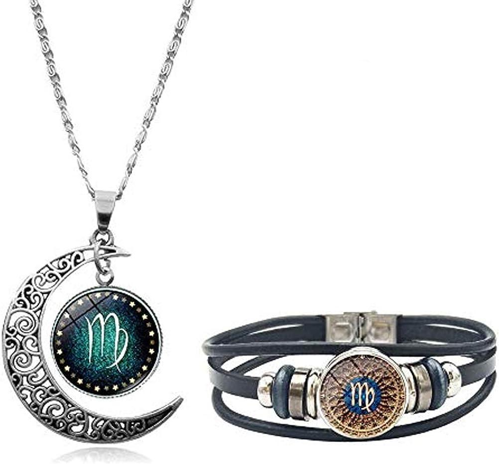 Osemind Zodiac Necklace Bracelet Set Constellation Necklace Leather Horoscope Bracelet Zodiac Moon Pendant Necklace Zodiac Jewelry Set Gift