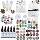 5X30ML Colla UV a resina epossidica di cristallo, 60 decorazioni con lampada e pinzetta, 13 stampi in silicone trasparente 100 anelli Accessori in metallo per gioielli artigianali Orecchini Collana