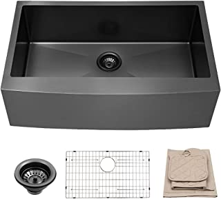 LORDEAR 33 Inch Farmhouse Apron Single Bowl 16-gauge 10 Inch Deep Stainless Steel Kitchen Sink, Matte Black