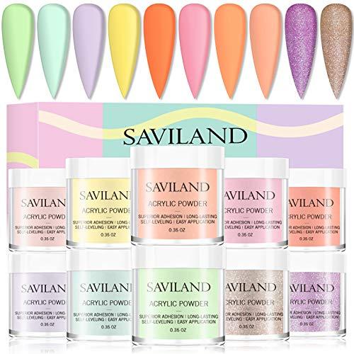Saviland Acrilico Per Unghie - 10 colori Polvere acrilica per kit unghie polvere polimerica professionale glitter per l'estensione delle unghie colori acrilici lampada per unghie necessaria
