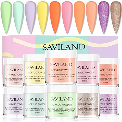 Saviland Acrylic Powder Set - 10 Colors Acrylic Nail Kit Glitter Professional...