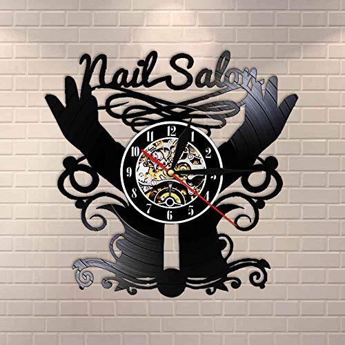 wtnhz LED Reloj de Pared de Vinilo Colorido Salón de uñas Disco de Vinilo Reloj de Pared de Cuarzo Estudio de Belleza decoración contemporánea Reloj de Pared Pulido Reloj de manicura Reloj de bols