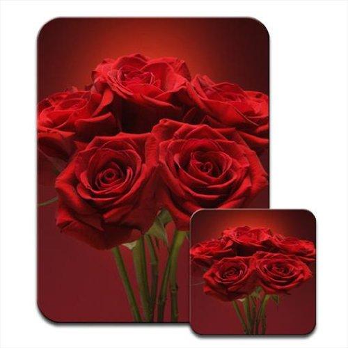 Strauß Rosen mit grünen Stängeln tiefrote Mauspad & Untersetzer