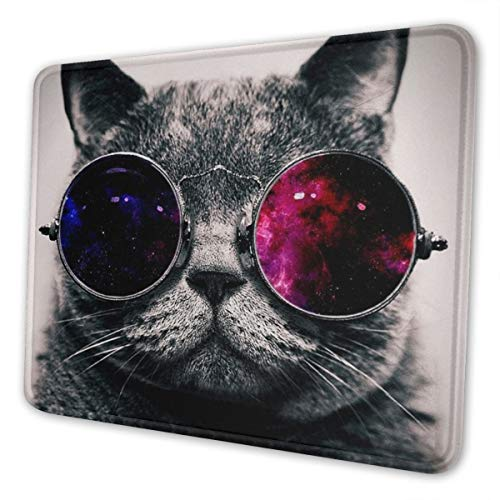 Mouse Pad Galaxy Hipster Cat Wear Color Sunglasses Gaming Mat Customized Non-Slip Rubber Base Stitched Edges for Office Laptop Computer