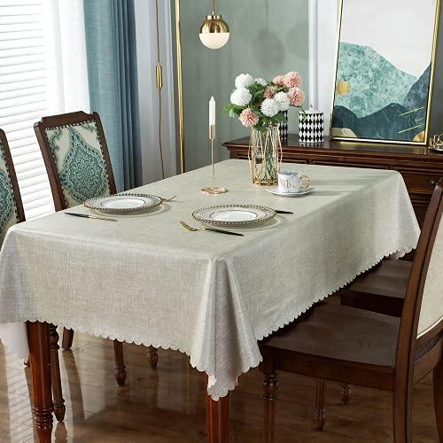 DARUITE Mantel Antimanchas Cuadrado, Impresas Elegante Flores Mantel PVC Plastico Mesa Impermeable de Comedor, Exterior, Cocina, Picnic - 140 x 140 cm, Gris