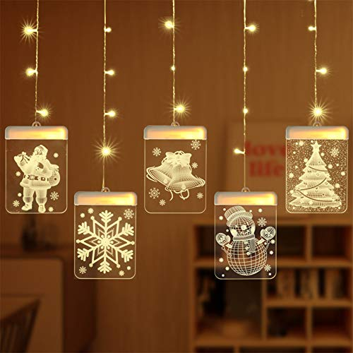 KAKIO Christmas Decoration USB String Lights with Remote Control 3D Acrylic LED Lights for Christmas Party Indoor Outdoor Decoration