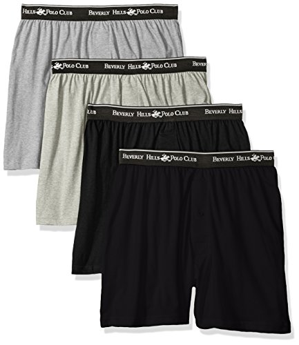 Beverly Hills Polo Club Men's 4 Pack Knit Boxer, Black/Grey Heather/Charcoal Heather, Medium
